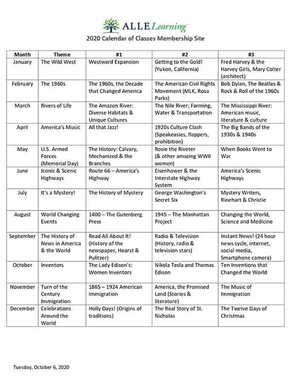 ALLE Learning Membership Calendar
